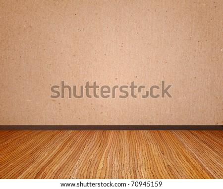 Beige wall with wooden floor empty to insert text or design - stock photo