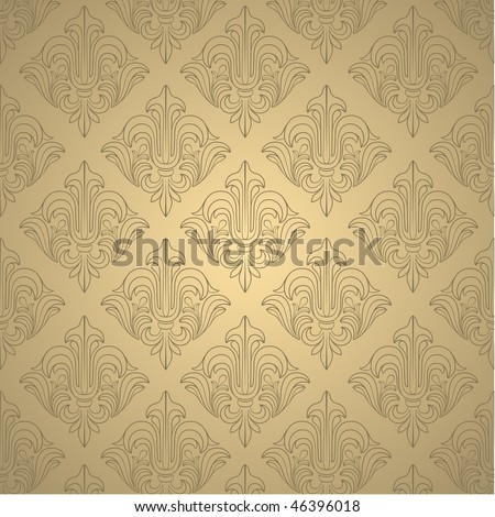 Beige wallpaper with elegant contour ornament. Vector illustration - stock photo
