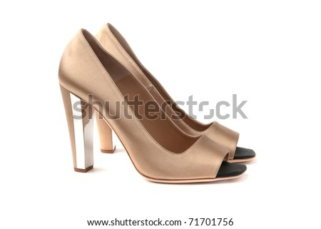 beige woman shoes white isolated