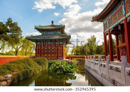 Beihai Park scene-Minor Western Paradise. Beihai Park located in Beijing of China. It has a history of 1000 years. It was royal garden. - stock photo