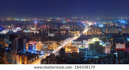 Beijing at night aerial view with urban buildings. - stock photo