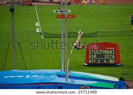BEIJING - AUG 18: American pole vaulter Jennifer Stuczynski attempts to clear 4.9 meters.  inside the Birds Nest Stadium.Beijing, China August 18, 2008