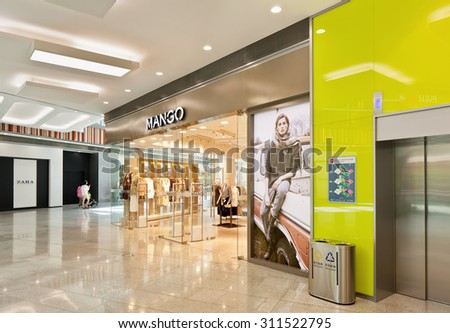 BEIJING-AUGUST 21, 2015. Mango outlet at Livat shopping mall. Owned by Inter IKEA Center Group, its design is uniquely Scandinavian and houses over 400 renowned domestic and international brands. - stock photo