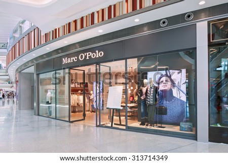 BEIJING-AUGUST 21, 2015. Marc O Polo outlet exterior. First Marc O Polo stores in China opened in 2014. Today, the company supplies over 2,500 stores and retail partners in more than 30 countries. - stock photo
