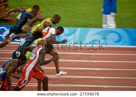 BEIJING - AUGUST 18: Start of Men's 100 meter sprint where Usain Bolt wins and sets a new world record at the 2008 Summer Olympic Games August 18, 2008 in Beijing, China.