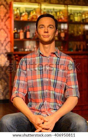 BEIJING, CHINA - APR 6, 2016: Jim Parsons as Sheldon Cooper at the Beijing Madame Tussauds wax museum. Marie Tussaud was born as Marie Grosholtz in 1761