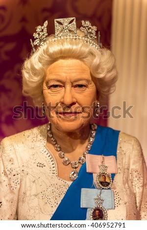 BEIJING, CHINA - APR 6, 2016: Queen Elizabeth II at the Beijing Madame Tussauds wax museum. Marie Tussaud was born as Marie Grosholtz in 1761 - stock photo