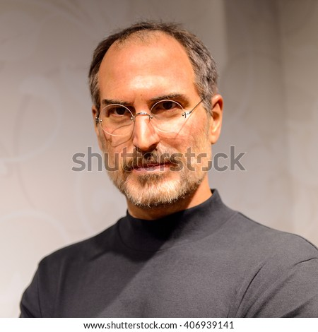 BEIJING, CHINA - APR 6, 2016: Steve Jobs at Beijing Madame Tussauds wax museum. Marie Tussaud was born as Marie Grosholtz in 1761 - stock photo