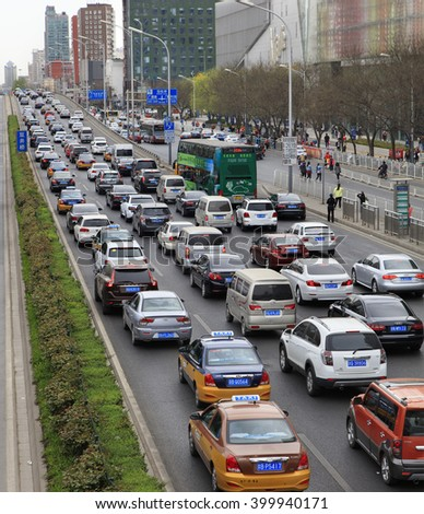 BEIJING, CHINA - APRIL 2, 2016: Heavy Traffic jam is seen at downtown city - stock photo