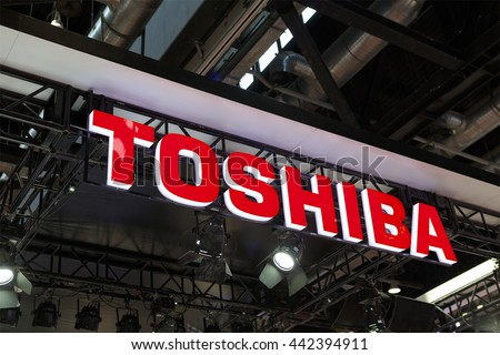 BEIJING, CHINA - APRIL 24, 2016: Toshiba sign; Toshiba is a Japanese multinational conglomerate corporation, founded in 1938, that serves worldwide.  - stock photo