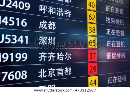 Beijing,China - Aug 24,2016:information board in Beijing Captial International Airport,China.