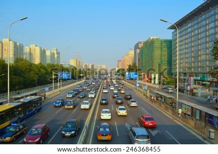 BEIJING, CHINA, AUGUST 2013: aerial view of traffic in chinese capital beijing. - stock photo