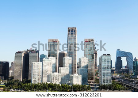 Beijing-China- August 21, Beijing city center, the office building of CBD , on August 20, 2015 Beijing, China   - stock photo
