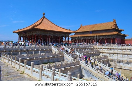BEIJING, CHINA, AUGUST 21, 2013: People are walking through forbidden city palace complex in beijing.
