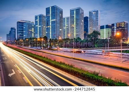 Beijing, China CBD Skyline and expressway. - stock photo