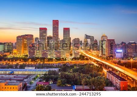 Beijing, China CBD skyline at sunset. - stock photo