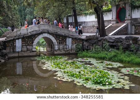 Beijing, China - circa September 2015: Bridge in the Park, Summer Palace, Beijing - stock photo