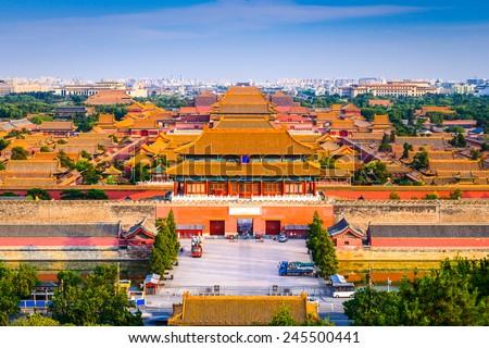 Beijing, China city skyline at the Forbidden City. - stock photo