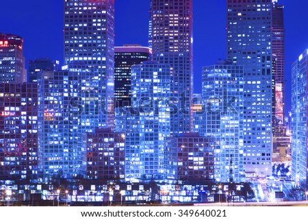 Beijing-China-December 4 , Beijing city center, the office building of CBD , night view, on December 4 , 2015 Beijing, China - stock photo