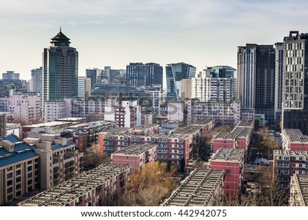 Beijing, China - 21 December, 2013: Skyline of downtown Beijing - stock photo