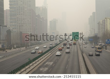 Beijing-China-Feb 15, Beijing severe  air pollution.on Feb 15, 2015 Beijing, China. - stock photo