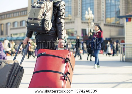 Beijing - China - February 04,2016: Chinese Spring Festival is the most important festival of family reunion. 2016 Spring Festival, passenger volume is expected to more than 2.9 billion people.
