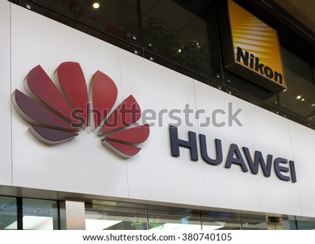 BEIJING, CHINA-FEBRUARY 21, 2016: Huawei sign; Huawei, a Chinese multinational company, is the largest telecommunications equipment maker in the world. - stock photo