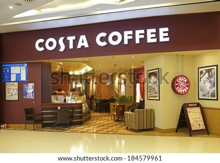 BEIJING, CHINA - JAN 5, 2014: Costa Coffee shop; Costa Coffee,  a British multinational coffeehouse company, is the second largest coffeehouse chain in the world and the largest in the United Kingdom - stock photo