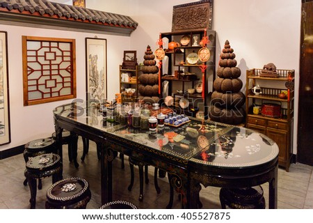 BEIJING, CHINA - MAR 26, 2016: Touristic Chinese tea shop restaurants for tea ceremonies. Tea ceremony is an important part of Chinese culture
