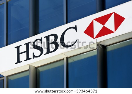 BEIJING, CHINA - MARCH 20, 2016: HSBC sign on a bank branch in Beijing. HSBC Holdings plc is the fifth largest bank by total assets in the world. - stock photo