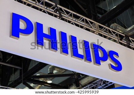 BEIJING, CHINA - MARCH 26, 2016: Philips brand sign. Philips is a Dutch company founded in 1891 and is one of the largest electronics companies in the world. - stock photo