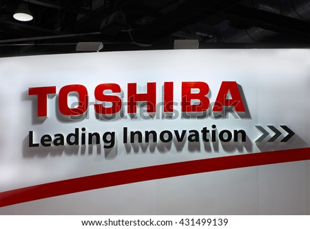 BEIJING, CHINA - MARCH 26, 2016: Toshiba sign; Toshiba is a Japanese multinational conglomerate corporation, founded in 1938, that serves worldwide.  - stock photo