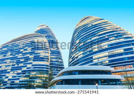 Beijing, China - March 25, 2015: wangjing soho beautiful night scene, wangjing soho is Beijing famous landmark