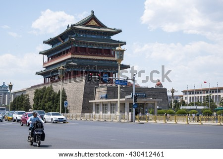 BEIJING, CHINA - May 24, 2016 : Gatehouse of Zhengyangmen is a gate in Beijing's historic city wall situated to the south of Tiananmen Square and once guarded the southern entry into the Inner City.  - stock photo