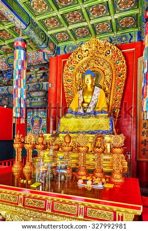 BEIJING, CHINA- MAY 20, 2015: Interior view of Yonghegong Lama Temple.Beijing. Lama Temple is one of the largest and most important Tibetan Buddhist monasteries in the world. - stock photo