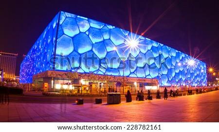 Beijing, China - May 4, 2013: Night view of Chinese National Aquatics Center ( Water Cube) - stock photo