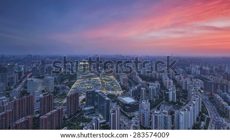 Beijing,China-May 29th,2015:cityscape and famous landmark building,WangJing Soho at night.