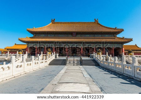 Beijing, China - May 26, 2016: The Forbidden City.  it is a very famous landmark in Beijing.