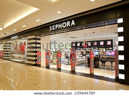BEIJING, CHINA - NOV. 17, 2014: Sephora store; Sephora is a French brand and chain of cosmetics stores, operates over 1,700 stores in 30 countries generating over $4 billion in revenue as of 2013 - stock photo