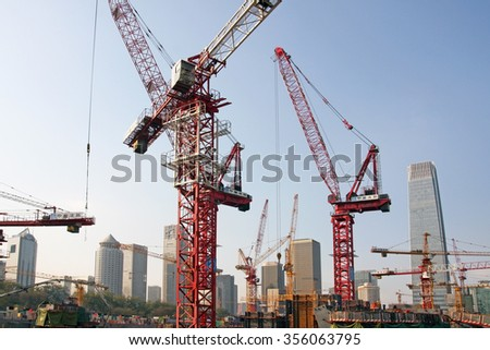BEIJING, CHINA - NOVEMBER 16, 2014: Ongoing construction in the Capital Business District on 16 November, 2014. CBD is the primary area of finance,commerce and business services in Beijing, China.