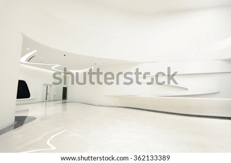 Beijing,China-on December 31st, 2015:The Modern Architecture Beijing Galaxy SOHO building interior view,designed by Zaha Hadid. - stock photo