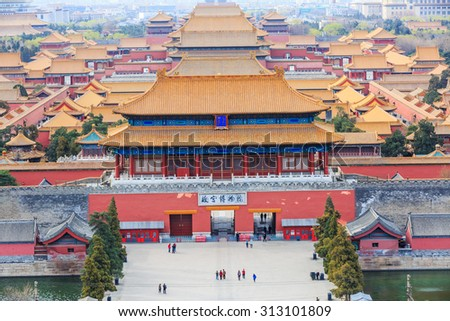 Beijing, China - on March 22, 2015: Chinese traditional buildings of the Forbidden City, the Forbidden City is the royal palace in China, It is the world's cultural heritage.