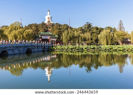 Beijing, China, Otober 13th, 2014 - People hanging around in Beihai park on a sunny afternoon in Beijing, China - stock photo