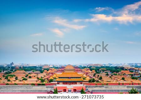 Beijing, China overlooking the Forbidden City.  - stock photo