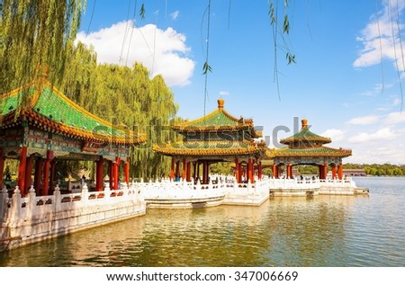 BEIJING/CHINA-SEP11: Five-Dragon Pavilions of Beihai Park on Sep11,2015 in Beijing, China.  Beihai Park has a history of 1000 years. It was royal garden. - stock photo