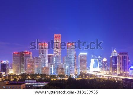 Beijing-China-September 2 , Beijing city center, the office building of CBD , night view, on September 2, 2015 Beijing, China - stock photo