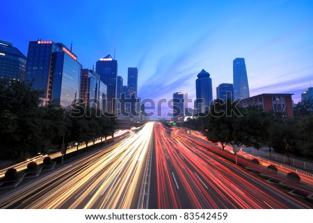 beijing cityscape at dusk with traffic - stock photo