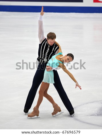 BEIJING-DEC 11: Vera Bazarova and Yuri Larionov of Russia perform in the Pairs-Free Skating event of the ISU Grand Prix of Figure Skating Final on Dec 11, 2010 in Beijing, China. - stock photo