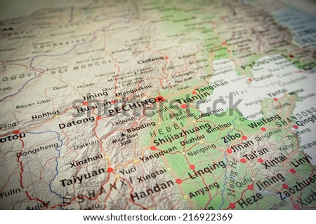 Beijing (Geographical view altered on colors/perspective and focus on the edge. Names can be partial or incomplete) - stock photo