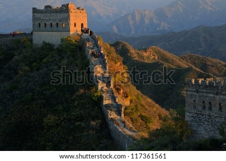 Beijing Great Wall of China Sunset